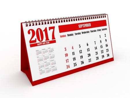 september calendar: 3d Happy New Year 2017 September Calendar - isolated Stock Photo