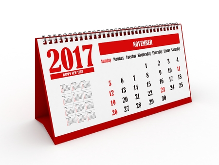 november calendar: 3d Happy New Year 2017 November Calendar - isolated