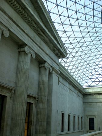 britan: Inside British Museum, glas construction roof Stock Photo