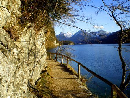 lake district: Hicking trail along Lake, Austrian Lake District