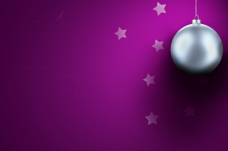 Silver - white Christmas ball on purple background