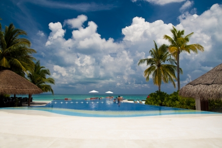 Pool at a beach in a luxury holiday resort