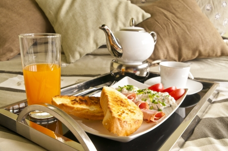 good morning: Healthy breakfast served to bed 2