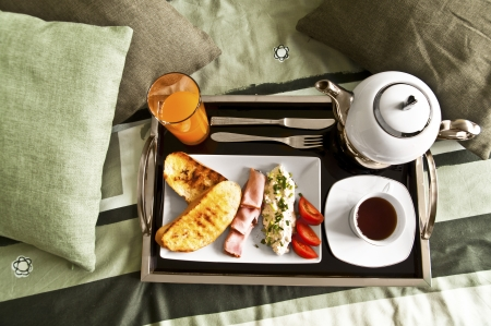 Healthy breakfast served to bed 1 Stock Photo