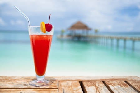 Red - orange drink at a luxury holiday resort  Stock Photo