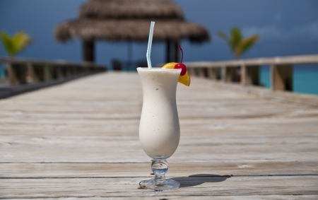 White drink at a luxury holiday resort