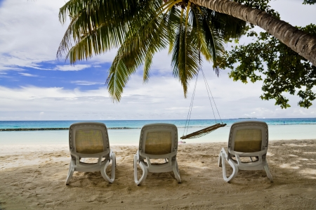 Three deck chairs at a tropical beach  Stock Photo