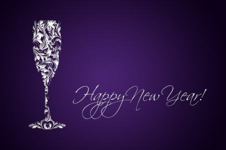 Happy New Year - paper cut-out card  Stock Photo