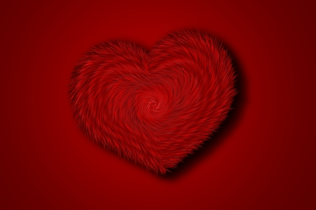 Fur heart on a red background