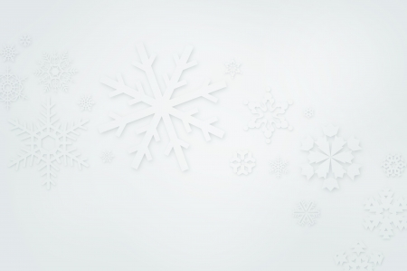 Winter background with paper cut-out snowflakes