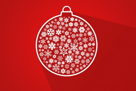 Red christmas ball - flat design greeting card background
