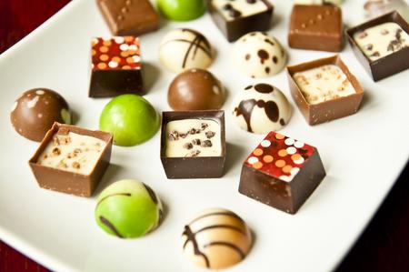 Plate of praline chocolates - a good-looking dessert