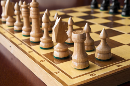 chellange: Wooden chess figurines - ready for game