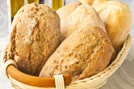 wholesome: A basket full of fresh and wholesome bread Stock Photo
