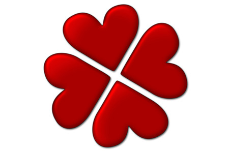 Love background - lucky in love. Four hearts creating four-leaf clover shape Stock Photo