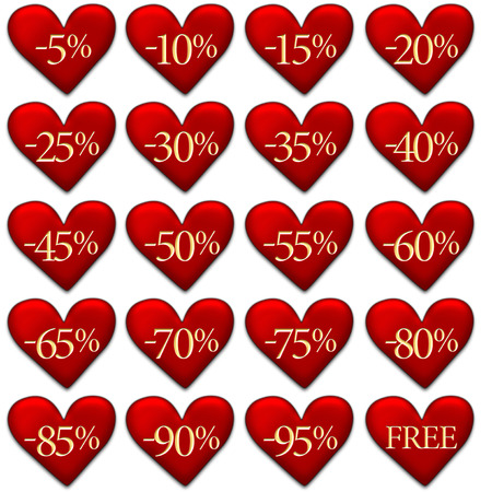 Heart shaped discount badges isolated on white - Valentines Day sale