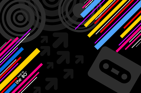 music background: 80s pop music black disco background with diagonal lines
