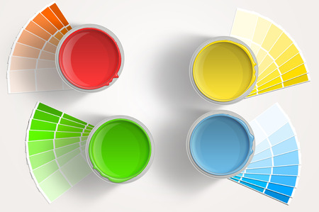 Five paint cans - yellow, red, blue, green with paint samplers on white background Stock Photo