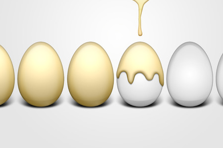 Easter eggs and dripping golden paint