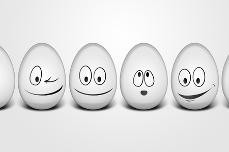 Easter eggs with happy faces Stock Photo