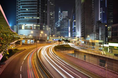 Hongkong financial district at night - modern city center