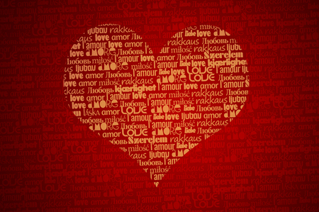 Red love background - word love in different languages forming a heart shape. A word cloud.