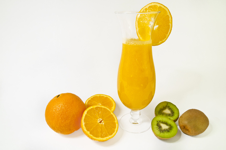 Fresh orange juice with kiwi fruits on white background. A healthy dessert.