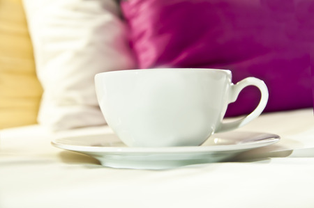 Cup of coffeetea served directly to bed. Good morning