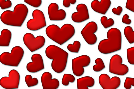 Love background - a lot of red glossy hearts on white background Stock Photo