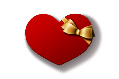Heart-shaped red gift box with golden bow isolated on white background. A Valentines Day gift  wedding gift.