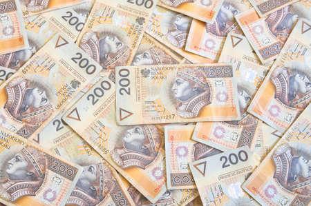 Polish money background - a lot of 200 zloty bills
