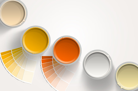 Five paint cans - yellow, orange, white with paint samplers on white background Stockfoto