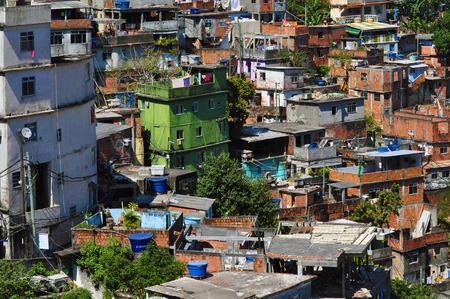 A view on Rocinha - the biggest favela of Rio de Janeiro, Brasil. Poor houses.