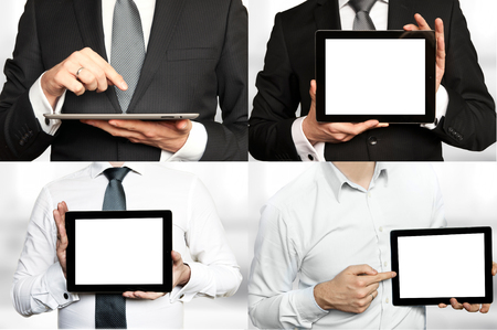 Four images of a businessman holding a tablet PC