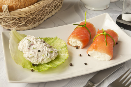 luxurious: Tasty and luxurious breakfast - salmon rolls with cottage cheese.