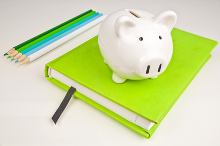 Piggy bank, notebook and blue and green pencils - saving on school and office supplies