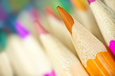 Macro shot of colorful pencils - office supplies