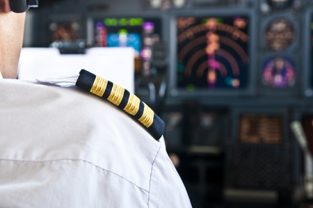 Captain epaulet - shoulder of a jet airliner pilot in command
