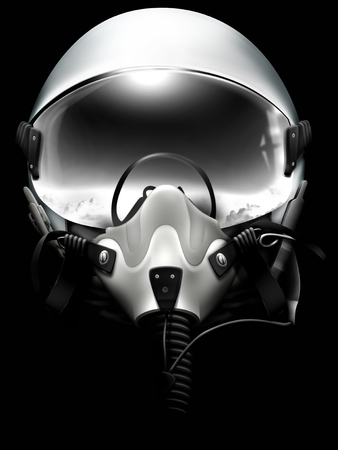 Jet fighter pilot helmet on black background. Mionochrome drawing.