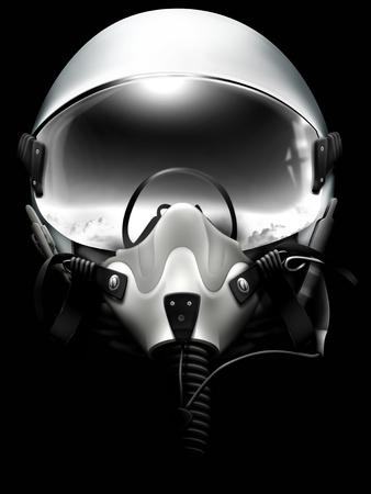 Jet fighter pilot helmet on black background. Mionochrome drawing.