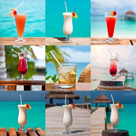 Set of nine images of colorful drinks served at a luxury tropical resort