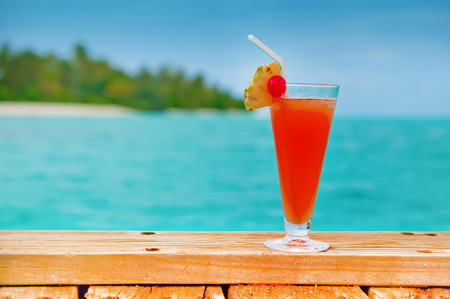 Red drink at a beach resort - all inclusive holidays