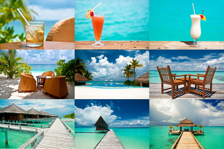 Tropical holidays - collage of nine photographs: drinks, beaches and a luxury resor
