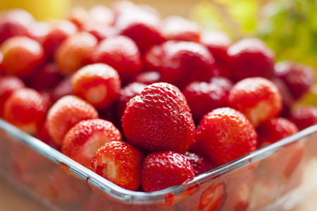 Glass plate full of strawberries