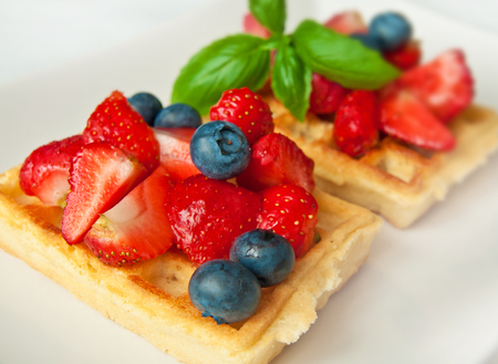 Sweet moment - wafers served with fruity topping Stock Photo