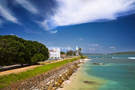 Sunny day, harbour and lighthouse in Galle, Sri Lanka Фото со стока