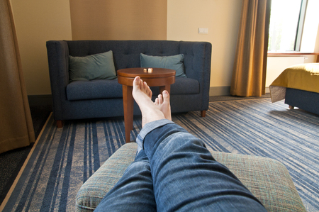 Man relaxing in living room - point of view perspective