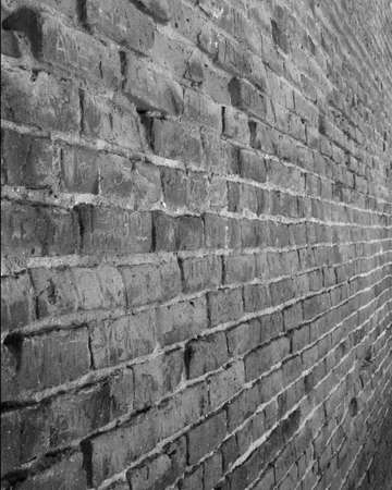 Black and White Brick Wall photo