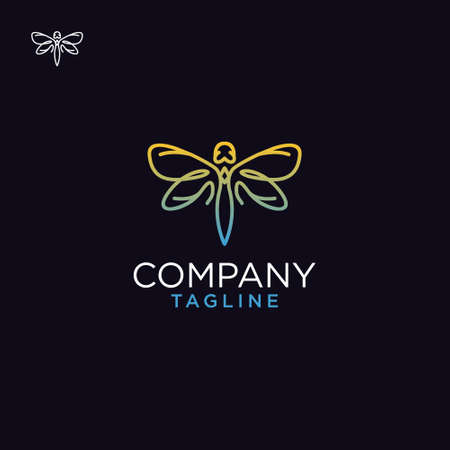 Dragonfly logo. Minimalist elegant Dragonfly wings logo design with line art style 向量圖像
