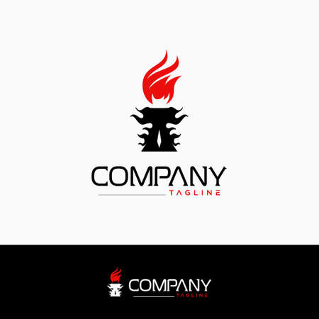 Creative torch logo. design vector. 向量圖像